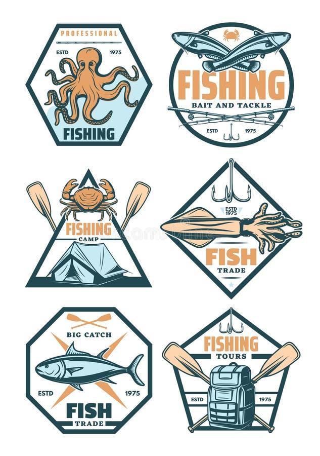 Значки и значки спорта рыбной ловли с рыбами и крюком иллюстрация вектора