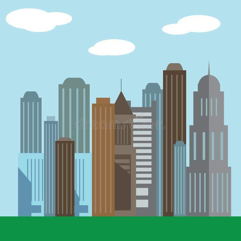 Значки иллюстрации вектора плоского дизайна современные городского ландшафта и городской жизни значок здания иллюстрация штока
