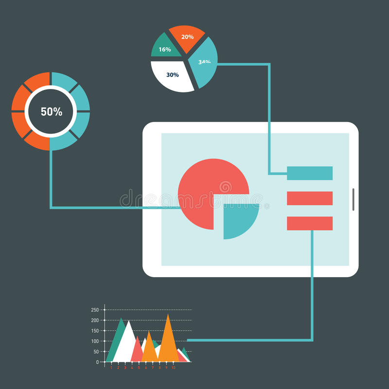 Значки иллюстрации вектора плоского дизайна современные установили оптимизирования вебсайта SEO, программируя процесса и элементо иллюстрация вектора