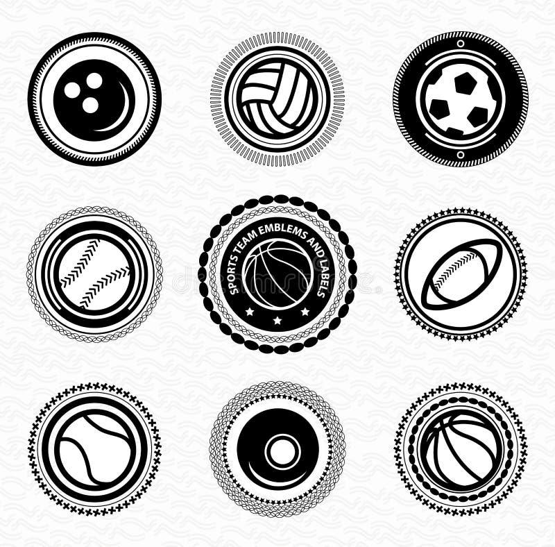 Значки и ярлыки vitage команды спортов ретро иллюстрация вектора
