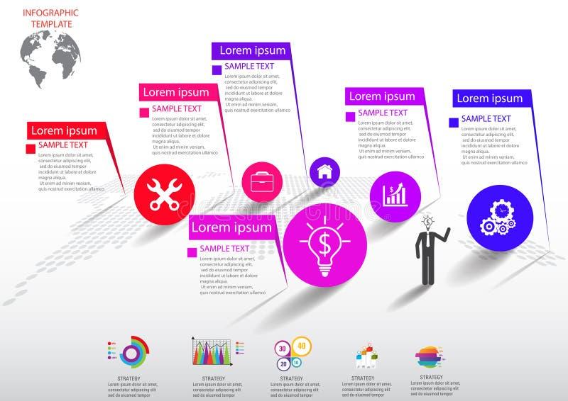 Значки и Busi маркетинга дизайна и шаблона Infographic иллюстрация штока