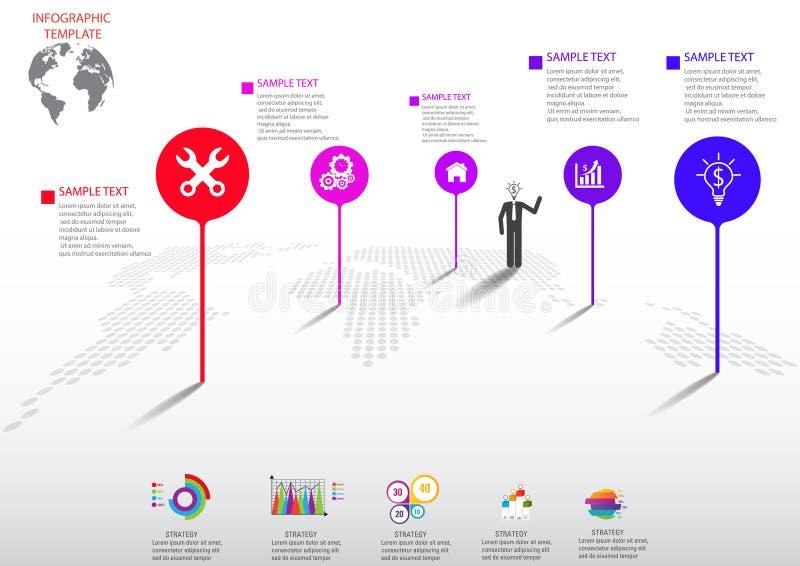 Значки и Busi маркетинга дизайна и шаблона Infographic иллюстрация вектора