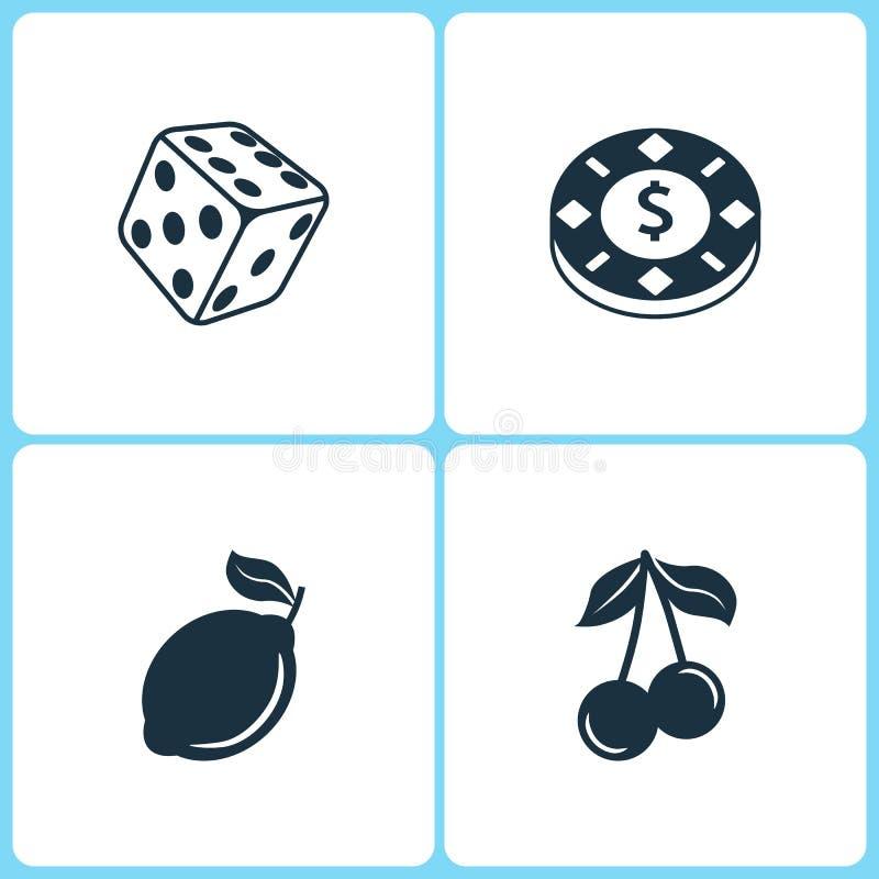 Значки казино иллюстрации вектора установленные Элементы игры кости, играя в азартные игры обломоков, значка лимона и вишни иллюстрация вектора