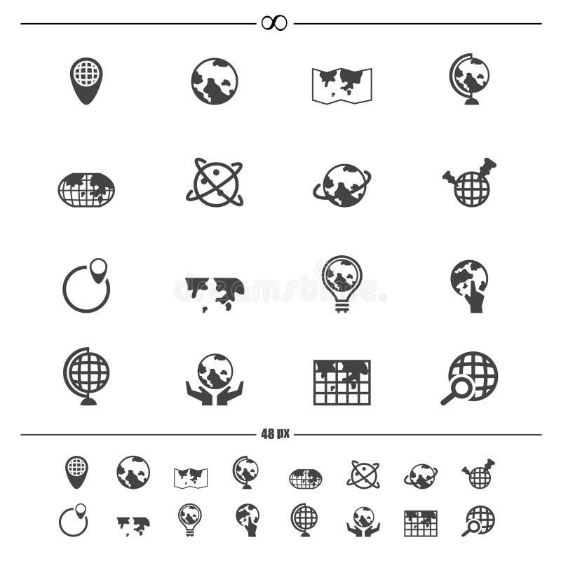 Значки карты глобуса и мира бесплатная иллюстрация