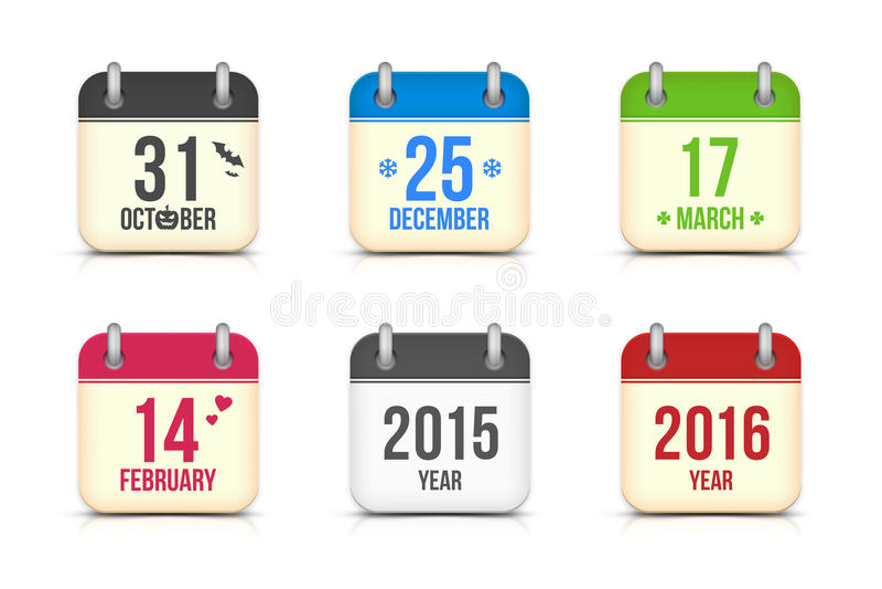 Значки календаря вектора установленные на праздники бесплатная иллюстрация