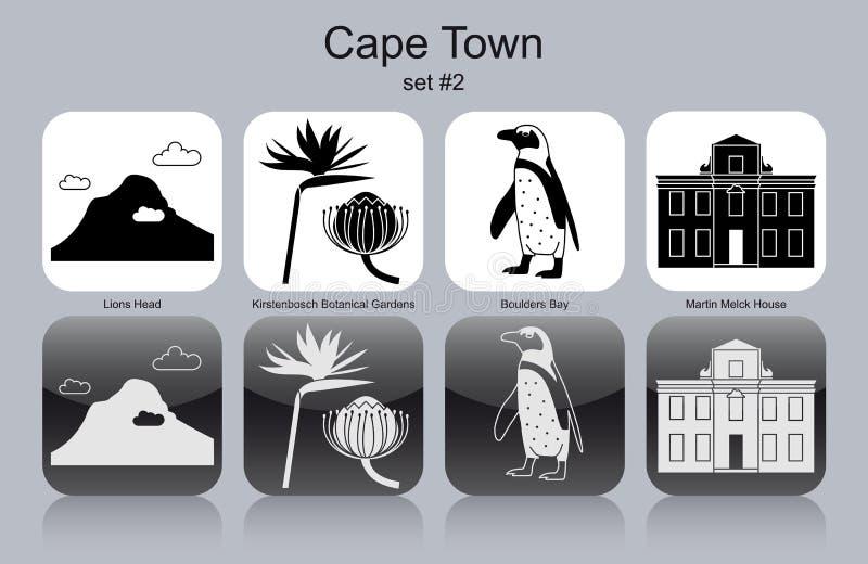 Значки Кейптауна иллюстрация вектора