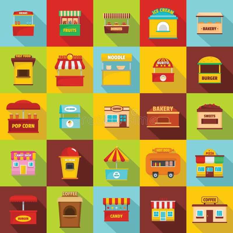 Значки киоска еды улицы установили, плоский стиль бесплатная иллюстрация