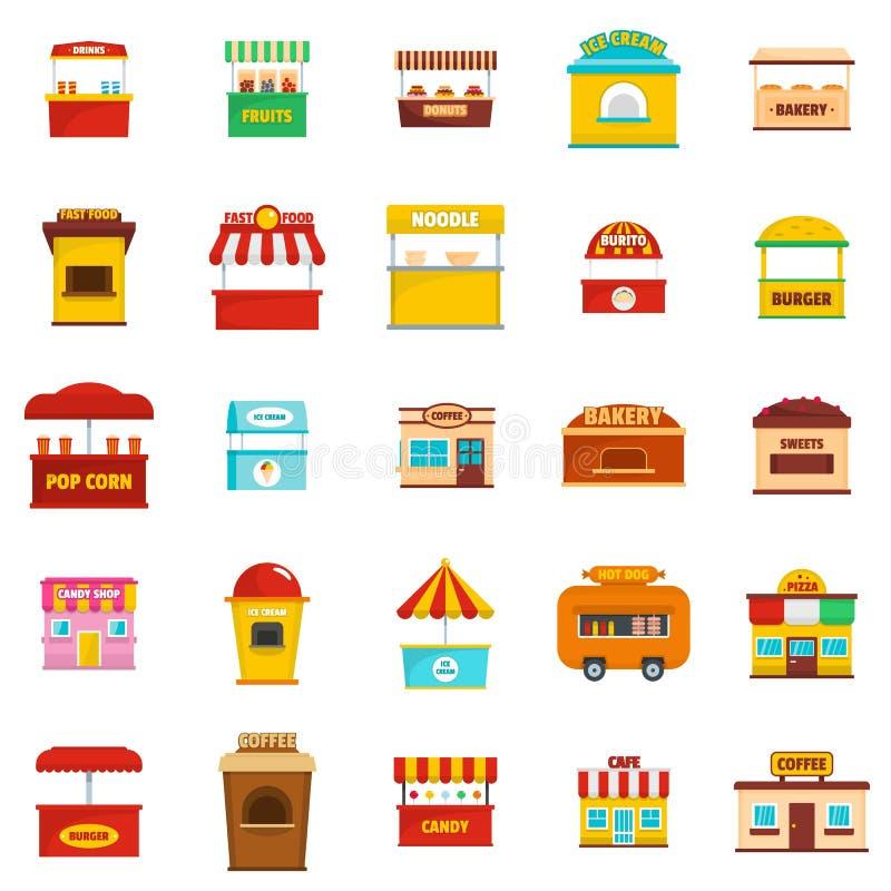 Значки киоска еды улицы установили, плоский стиль иллюстрация вектора