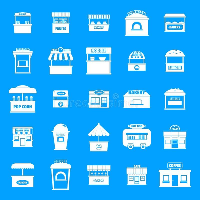 Значки киоска еды улицы установили, простой стиль иллюстрация штока