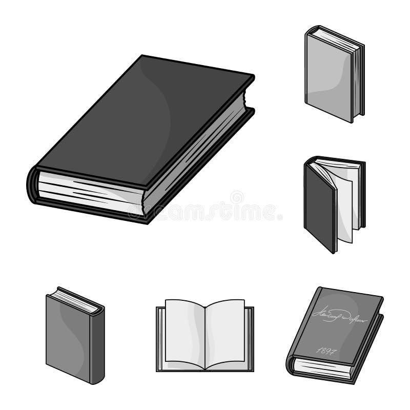 Значки книги связанные monochrome в собрании комплекта для дизайна Напечатанная иллюстрация сети запаса символа вектора продуктов иллюстрация вектора