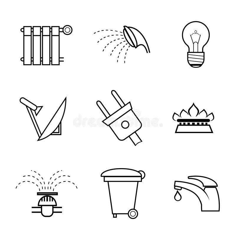 Значки коммунальной услуги и общих назначений бесплатная иллюстрация