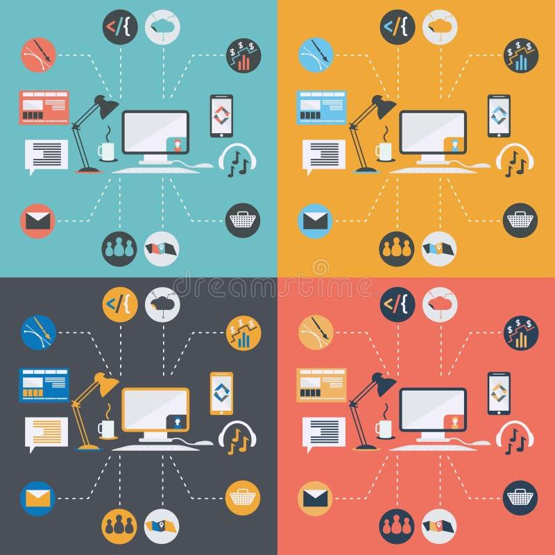значки компьютерной технологии в плоском дизайне бесплатная иллюстрация