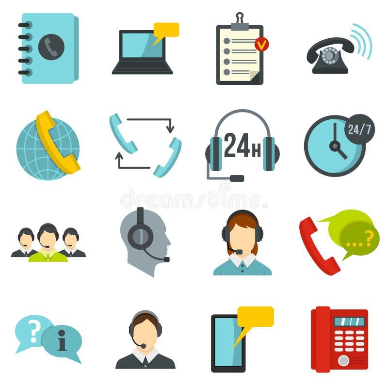 Значки комплекта символов центра телефонного обслуживания плоские иллюстрация штока