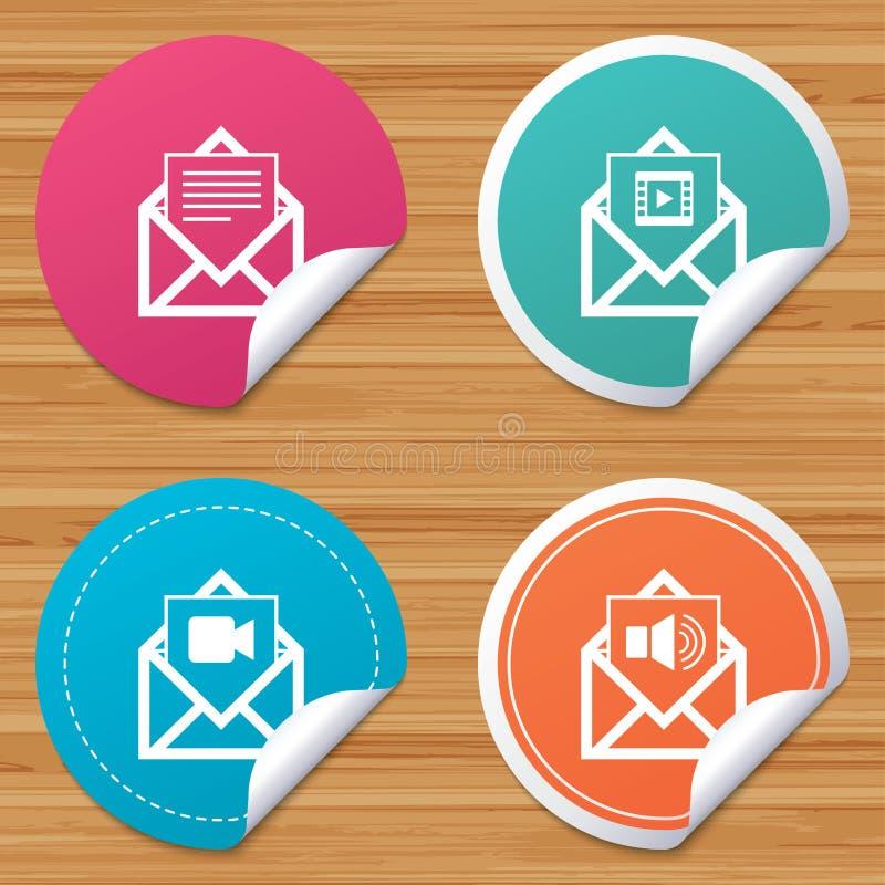 Download Значки конверта почты Символы документа сообщения Иллюстрация вектора - иллюстрации насчитывающей документ, круг: 81804112