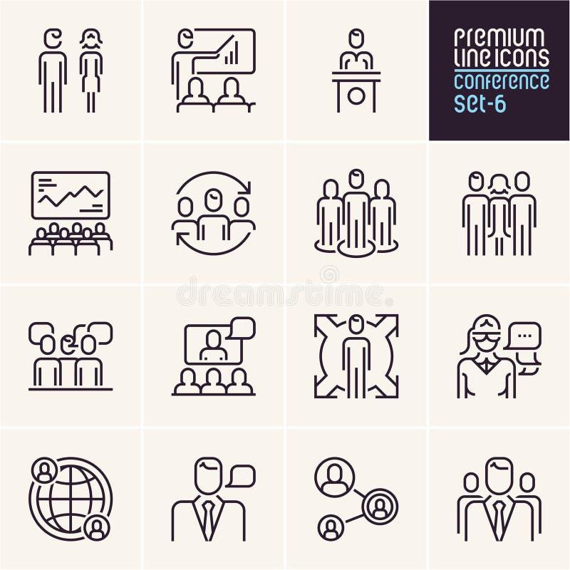 Значки конференции, управление и бизнесмены линии значков установили, человеческие ресурсы иллюстрация вектора