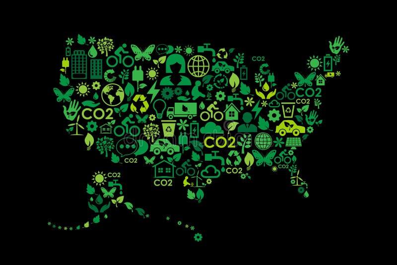 Значки концепции зеленого цвета охраны окружающей среды карты США иллюстрация вектора