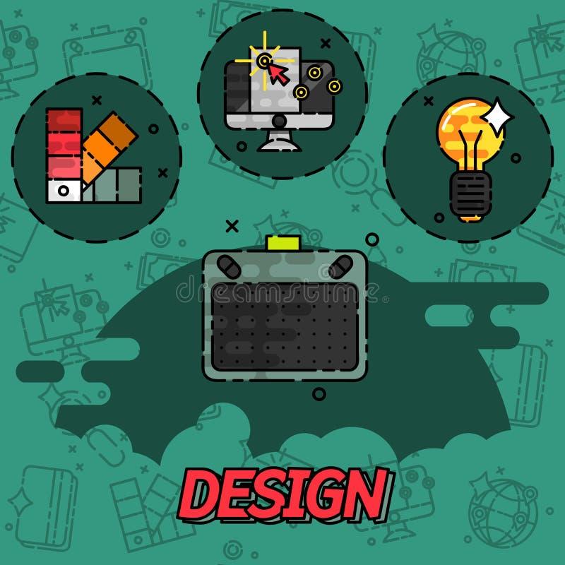 Значки концепции дизайна плоские бесплатная иллюстрация