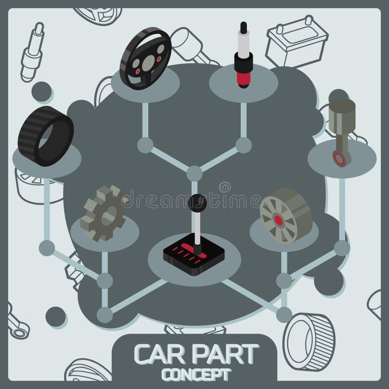 Значки концепции цвета части автомобиля равновеликие бесплатная иллюстрация