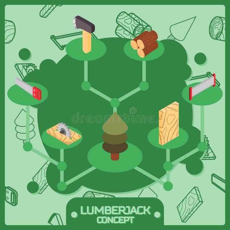Значки концепции цвета Lumberjack равновеликие бесплатная иллюстрация
