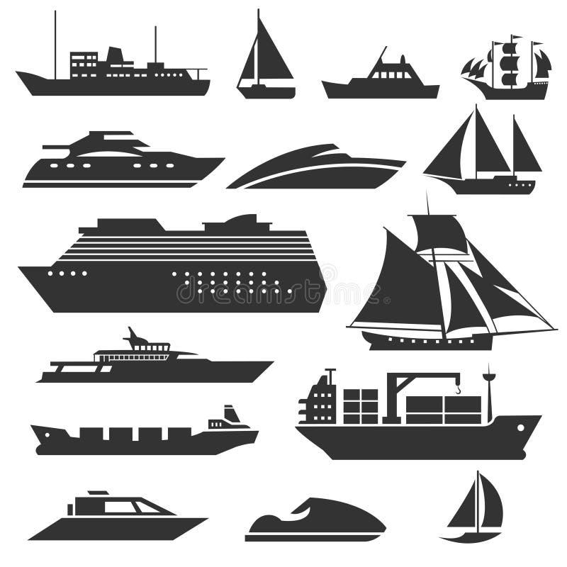 Значки кораблей и шлюпок Баржа, туристическое судно, грузя вектор рыбацкой лодки подписывает иллюстрация вектора