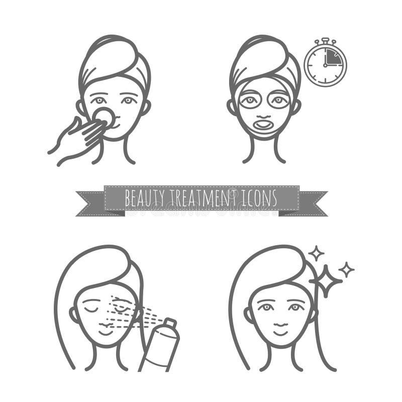 Значки косметики, лицевой щиток гермошлема, брызг иллюстрация штока