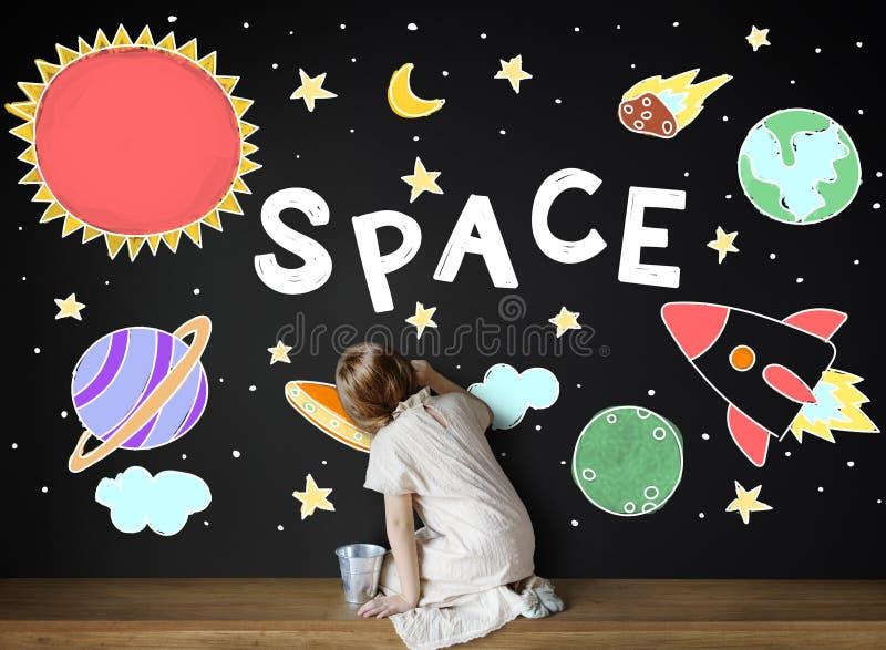 Значки космического пространства рисуя концепцию графиков стоковые фото