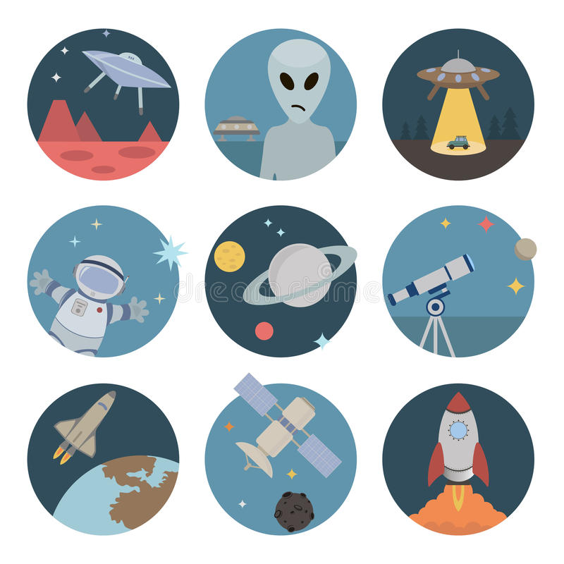 Значки космоса плоские иллюстрация штока
