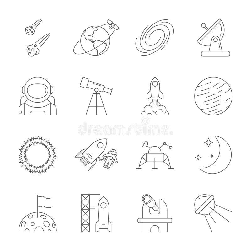 Значки космоса, тема астрономии, стиль плана Содержит луну, солнце, землю, вездеход луны, спутник, астероиды, солнечные иллюстрация вектора