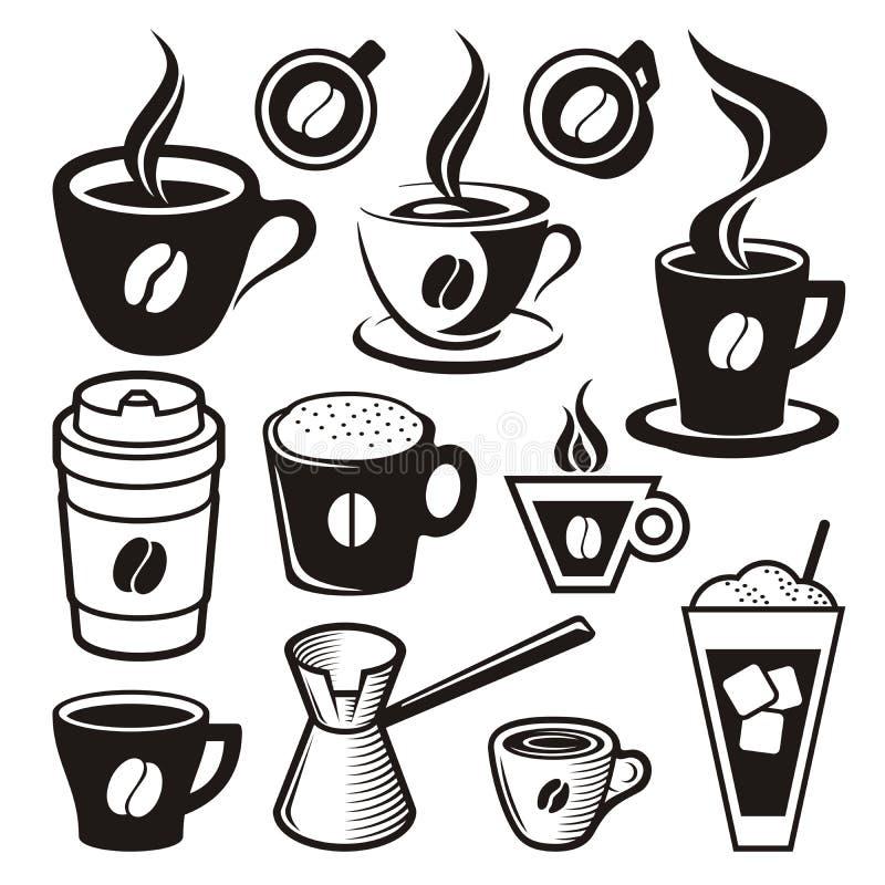 Значки кофейной чашки иллюстрация штока