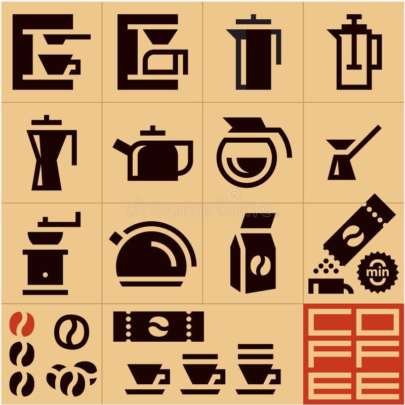 Значки кофе процесс подготовки фото машины выдержки espresso кофе длинний иллюстрация штока