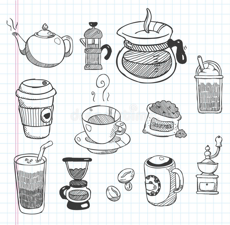 Значки кофе Doodle бесплатная иллюстрация