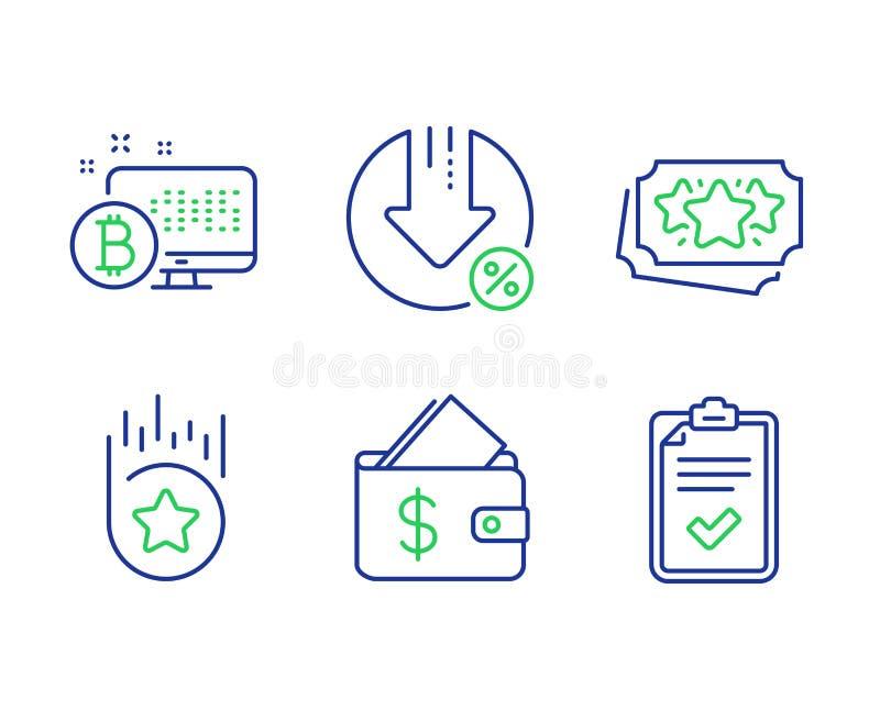 Значки кошелька, процента займа и точек лояльности установлены Bitcoin system, Loyalty star и Checklist признаки Вектор иллюстрация вектора