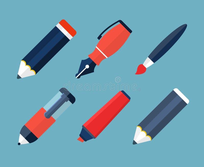 Значки краски и письменных принадлежностей плоские иллюстрация штока