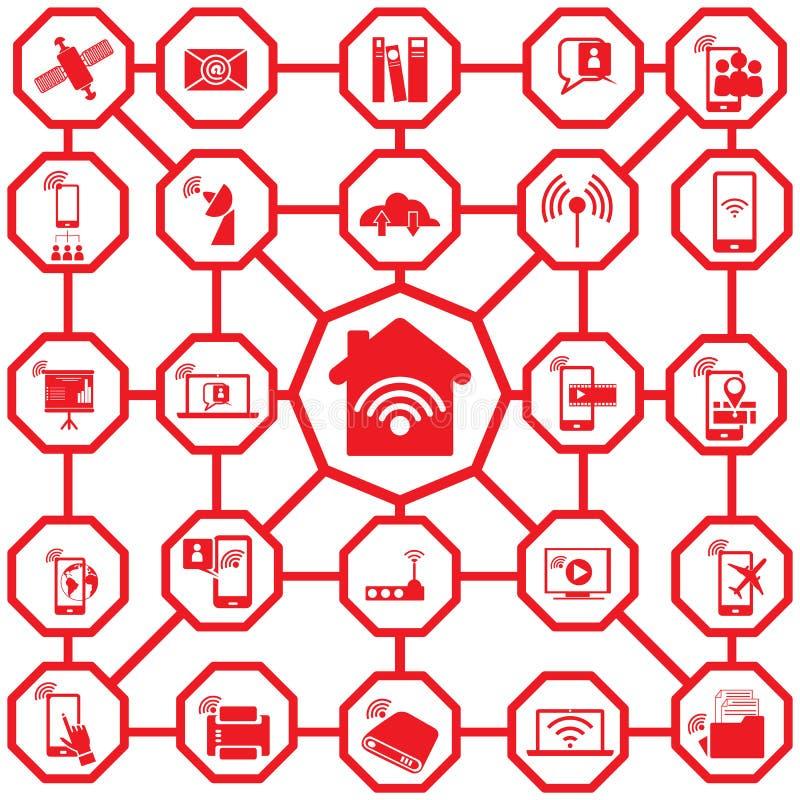 Значки красного цвета самонаводят сеть иллюстрация вектора