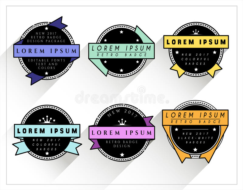 Значки красочных и BW ретро бесплатная иллюстрация