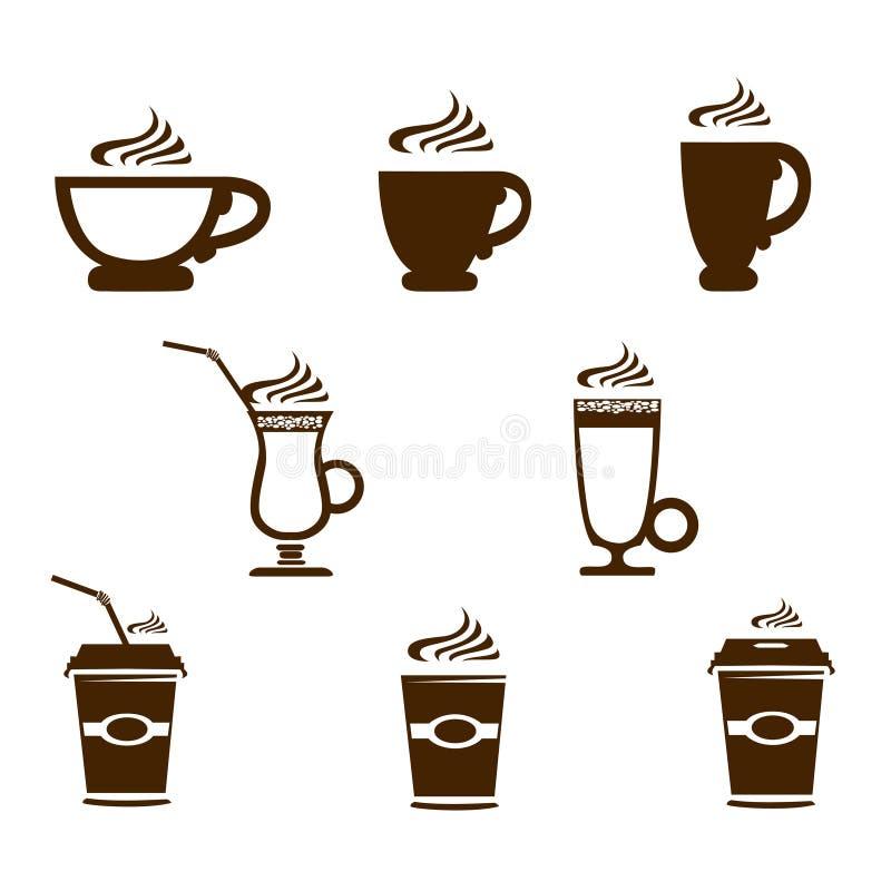 Значки кружки кофе иллюстрация вектора