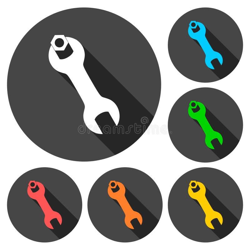 Значки ключа и гайки установили с длинной тенью бесплатная иллюстрация