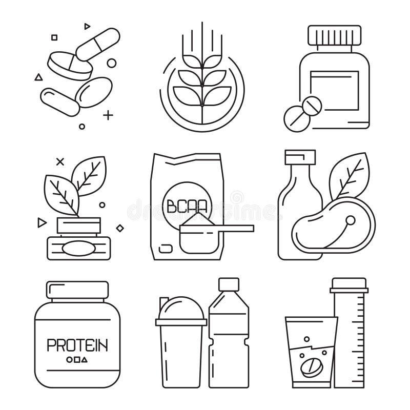 Значки лекарства спорта Напитки таблеток multivitamin Whey дополнить символы диетического вектора еды фитнеса линейные иллюстрация штока