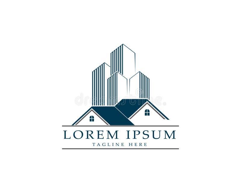 Значки логотипа недвижимости и жилищных строительств иллюстрация вектора