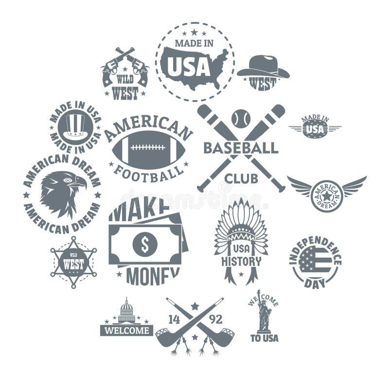 Значки логотипа США винтажные установили, простой стиль иллюстрация вектора