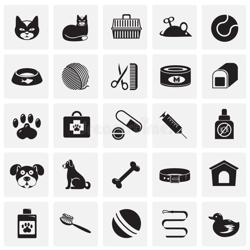 Значки любимца установили на предпосылку квадратов для графика и веб-дизайна, современного простого знака вектора интернет принци бесплатная иллюстрация