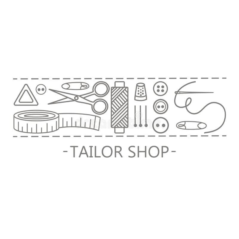 Значки магазина портноя иллюстрация штока