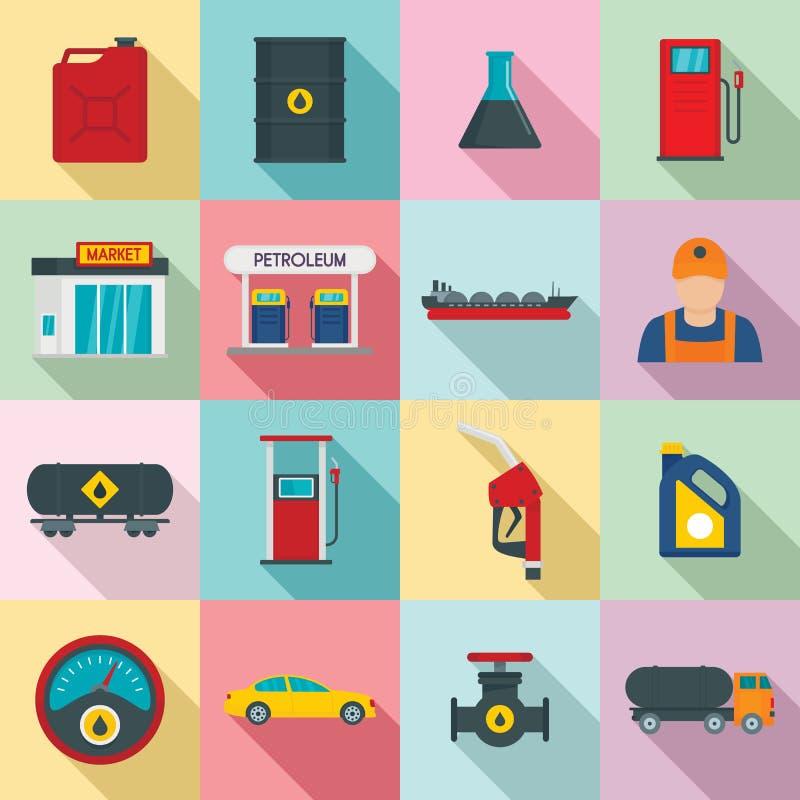 Значки магазина топливного горючего бензозаправочной колонки установили, плоский стиль иллюстрация штока