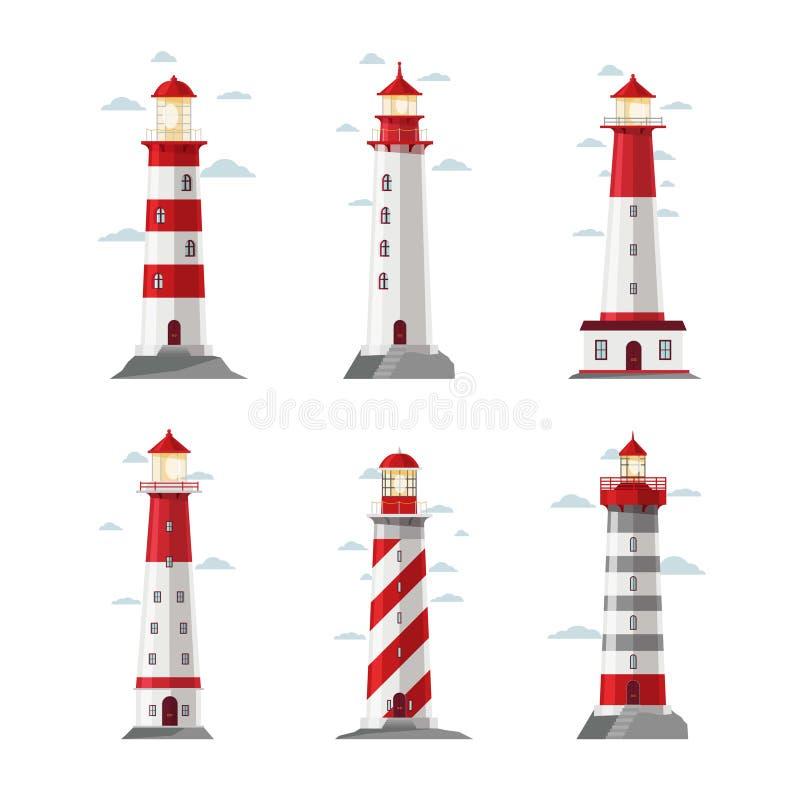 Значки маяка шаржа Vector маяк или pharos установленные для иллюстрации безопасностью моря иллюстрация штока
