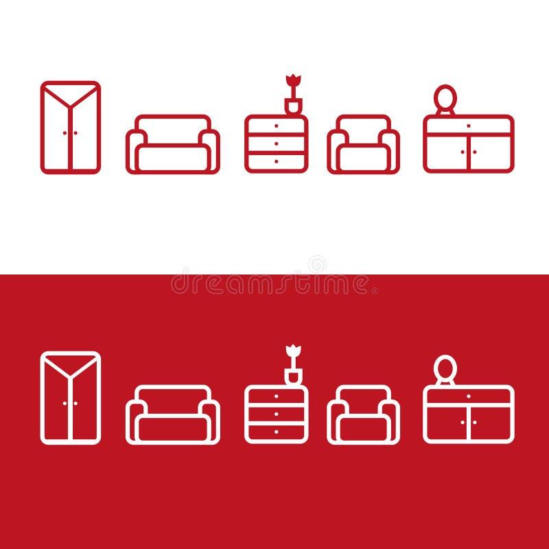 Значки мебели вектора бесплатная иллюстрация