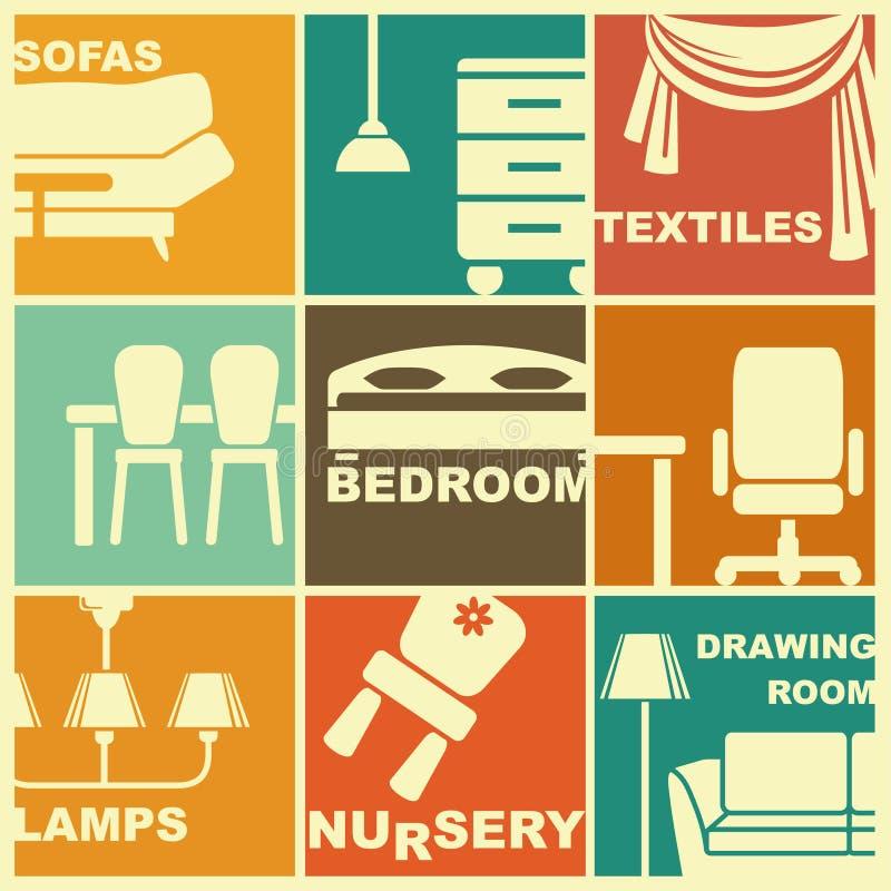 Значки мебели и интерьеров иллюстрация штока