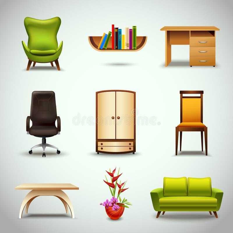 Download Значки мебели реалистические Иллюстрация вектора - иллюстрации насчитывающей bonnet, дом: 40586210