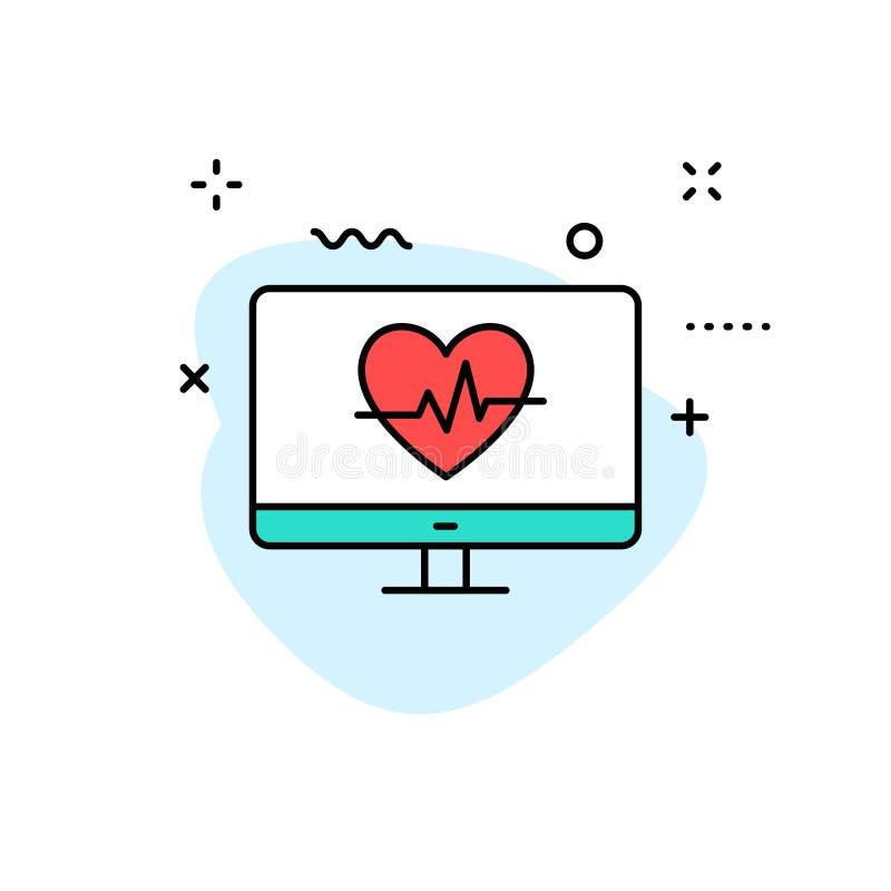 Значки медицинских и здоровья сети в линии стиле Медицина и здравоохранение, RX, infographic r иллюстрация вектора