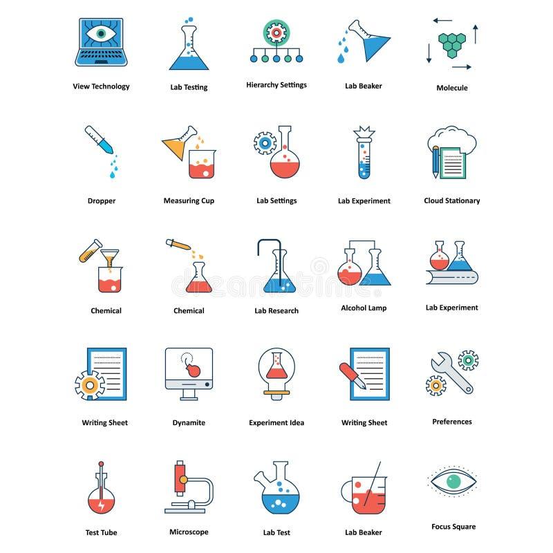 значки медицинских и технологии линии и вектора заполнения цвета editable иллюстрация штока