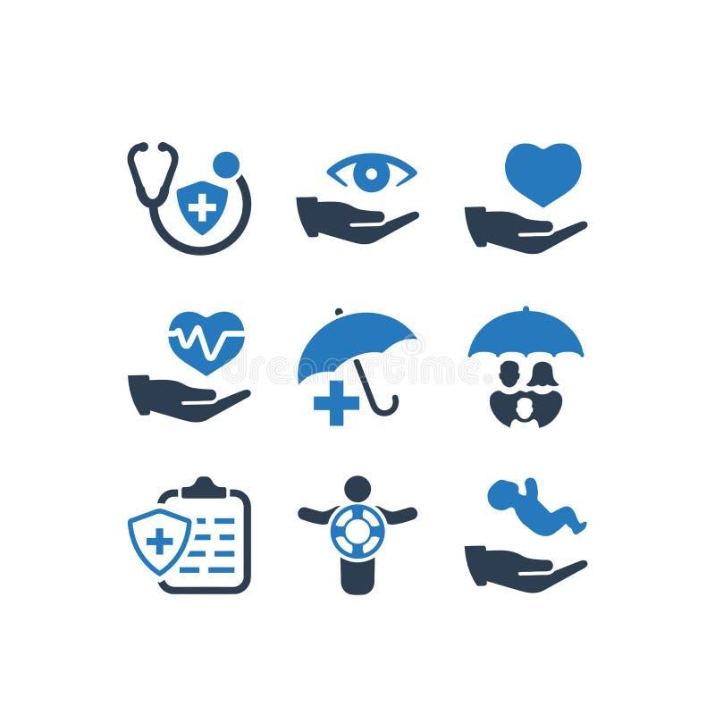 Значки медицинской страховки - голубая версия иллюстрация штока